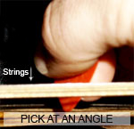 Pick at an angle to strings